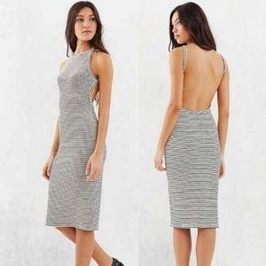 Silence + Noise Backless Striped Halter Dress